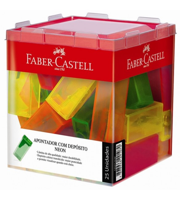Apontador  com Deposito  Faber Castell Neon CX 25 unidades