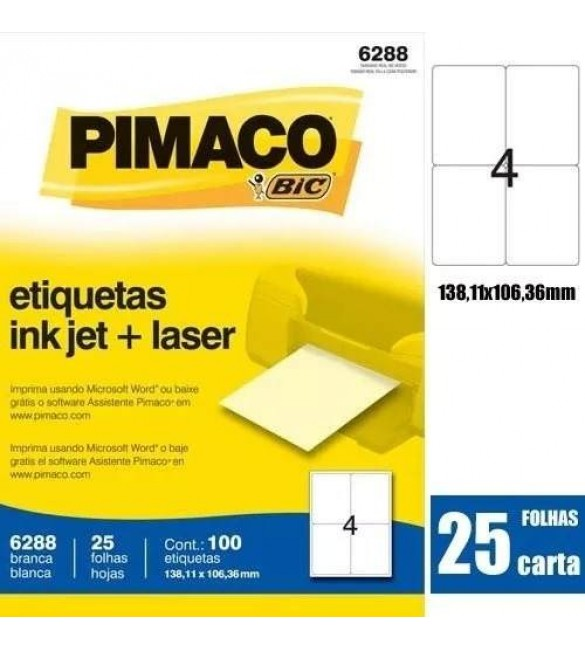 Etiqueta Carta 6288 25 Fls 138,11 X 101,36 Mm Pimaco Ct.c/100