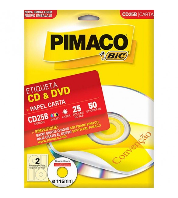 Etiqueta CD/DVD ink-jet/laser Carta 115mm - CD10B Pimaco